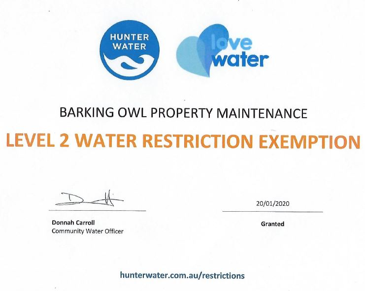 Level 2 water restriction exempt